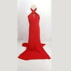 Cache Gown Size 8 Red Beaded Halter Top Backless